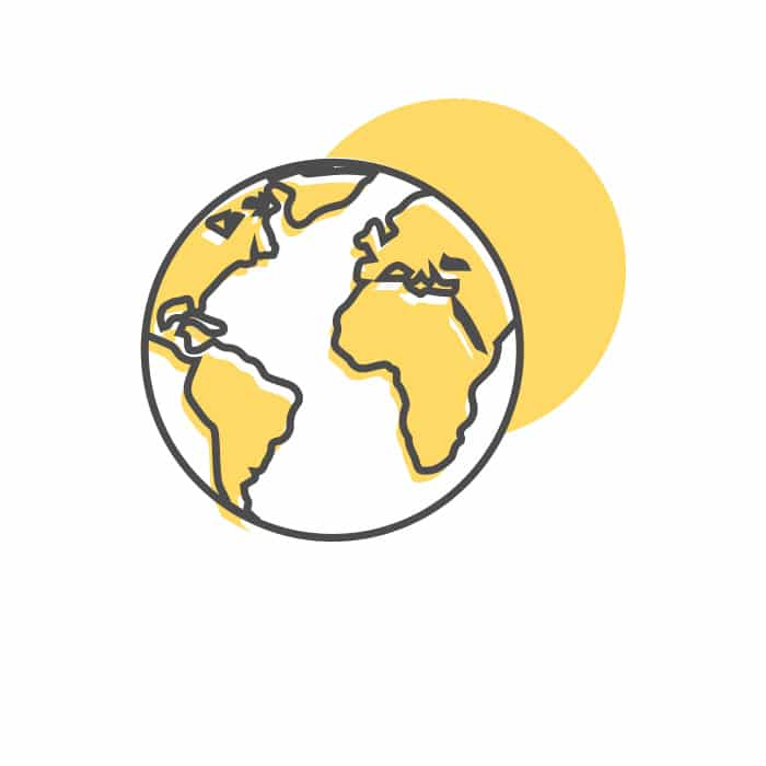 La planète terre avec un grand soleil en fond