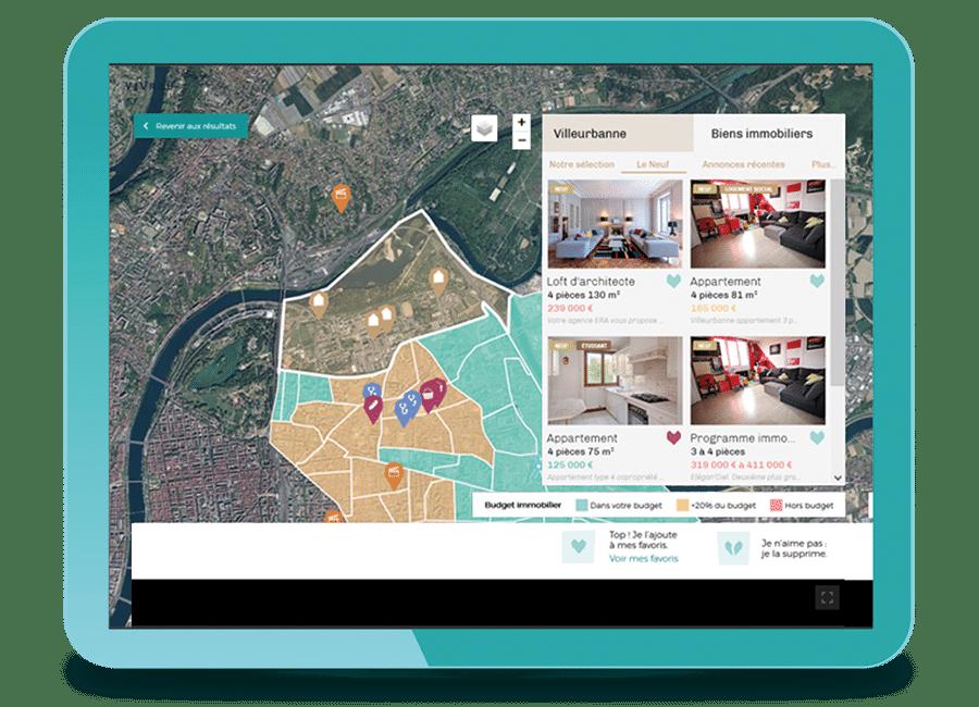 Capture d'écran de vivrou avec une carte avec des POI et une liste de biens immobiliers